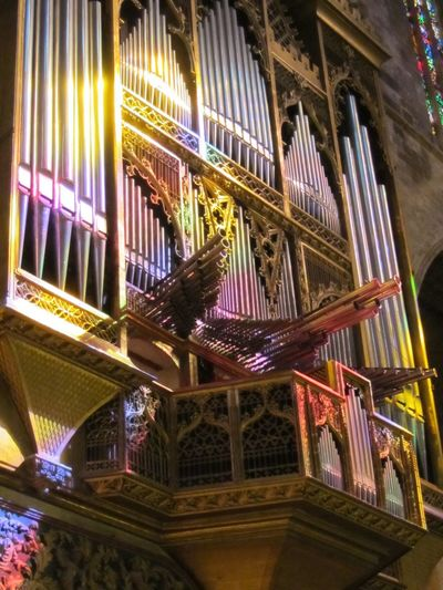 Church Organ in colors Colored Lights Church Organ Pipes Night Built Structure Architecture Multi Colored