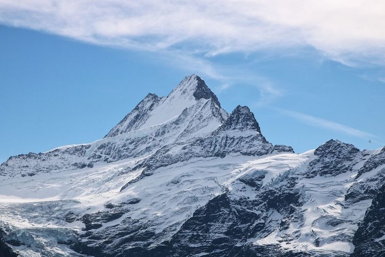 Mountain Snow Snowcapped Mountain Beauty In Nature Scenics Mountain Range Nature Cold Temperature Tranquil Scene Tranquility Winter Sky Day Outdoors No People Cloud - Sky Peak Lost In The Landscape