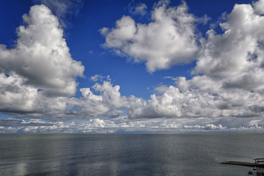 The Scaffolding Beauty In Nature Blue Cloud - Sky Day Horizon Over Water Nature No People Outdoors Scenics Sea Sky Tranquil Scene Tranquility Water
