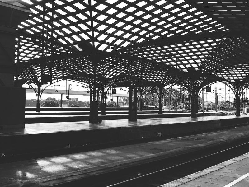 The Architect - 2017 EyeEm Awards Central Station Architecture Rail Transportation Railroad Station Transportation Railroad Track Railroad Station Platform Public Transportation Day Roof No People Built Structure Blackandwhite EyeEm Best Shots - Black + White Black And White Friday