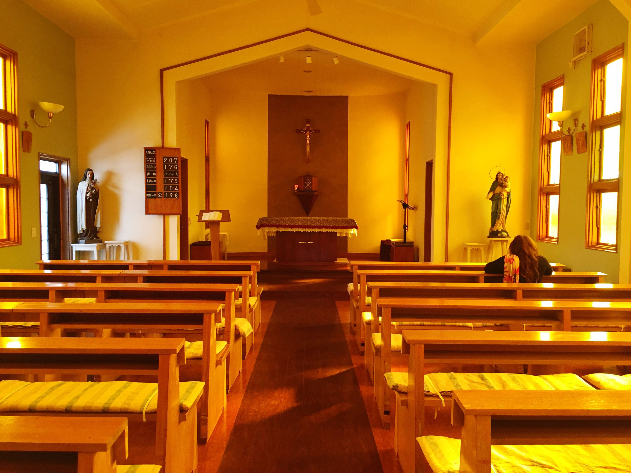 indoors, religion, no people, place of worship, pew, architecture