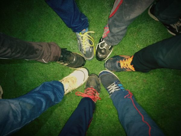 Out Of The Box Human Leg Grass Shoe Togetherness High Angle View Outdoors Friendship Standing Human Body Part Close-up People Night
