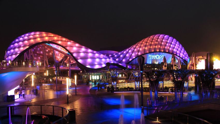 Night Illuminated Architecture Bridge - Man Made Structure Arts Culture And Entertainment Long Exposure Built Structure Travel Destinations Sky Cityscape Outdoors No People Modern Building Exterior City Water Nature Shanghaidisneyresort Disney Shanghaidisneyland Disneyland