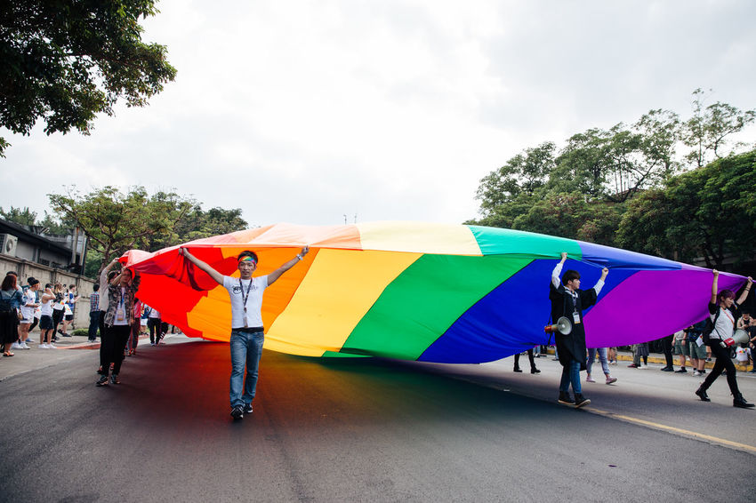 Taipei, Taiwan - Oct 28, 2017: Hundreds of thousands came out on streets of Taipei for the 15th Taiwan Pride Parade. The parade started marching from Ketagalan Boulevard to three different avenues and made Taipei even more colorful with all shades of rainbow. This year's goal is to promote inclusive education as it would lead to better acceptance. Taiwan is about to be the first in Asia to officially legalize 'equal marriage'. Gay Pride LGBT Rainbows LGBT Rainbow Rainbowflag Taipei Pride Taiwanese Gay Pride Parade Gaypride Lgbt Flag Lgbt Pride Lgbtpride Loveislove Lovewins Pride2017 Prideparade Rainbow Taiwan Pride Taiwanpride Taiwanpride2017 This Is Queer Inner Power Love Is Love