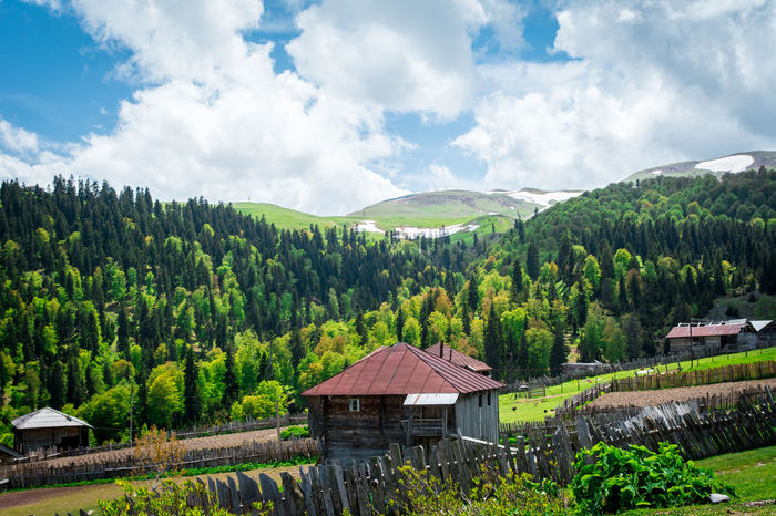 Adjara Architecture Beauty In Nature Cloud - Sky Day Forest Georgia Landscape Mountain Nature No People Outdoors Roof Scenics Sky Tree