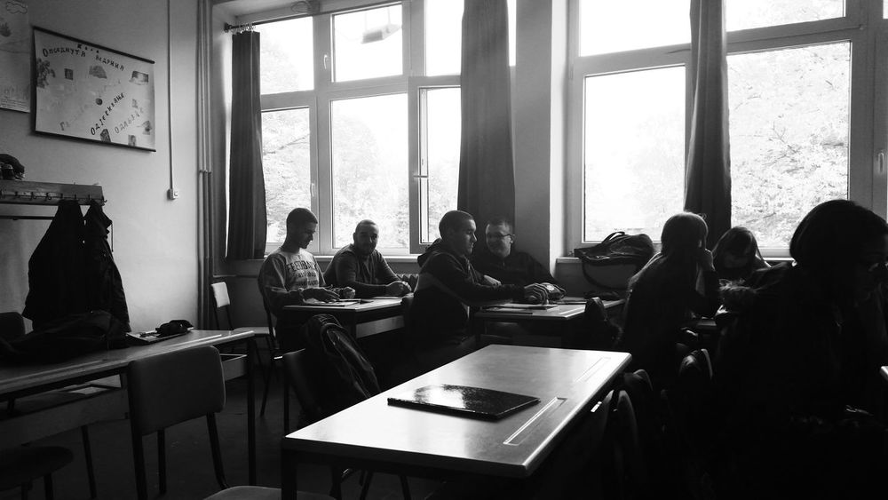 Darkness And Light Classroom Friends At School Black & White