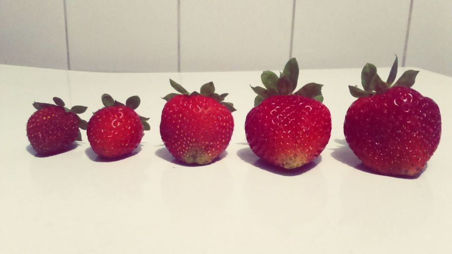 Strawberry Strawberries Fruit Juicy Juicy Fruit Red Home Grown Healthy In A Row In A Line Delicious Nutritious Smallest Largest Sizes Size Comparison Order White Background Five Shadow RipeHealthy Food Sweet One Of Your 5 A Day  5 A Day