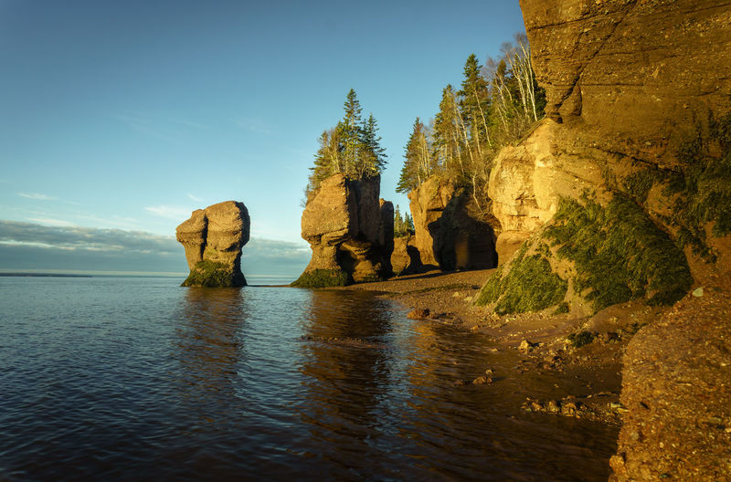 Hopewell Sunrise Bay Of Fundy Canada Day Horizon Over Water Nature New Brunswick, Canada No People Outdoors Physical Geography Rock - Object Rock Formation Scenics Sea Sky Tranquil Scene Tranquility Travel Destinations Water
