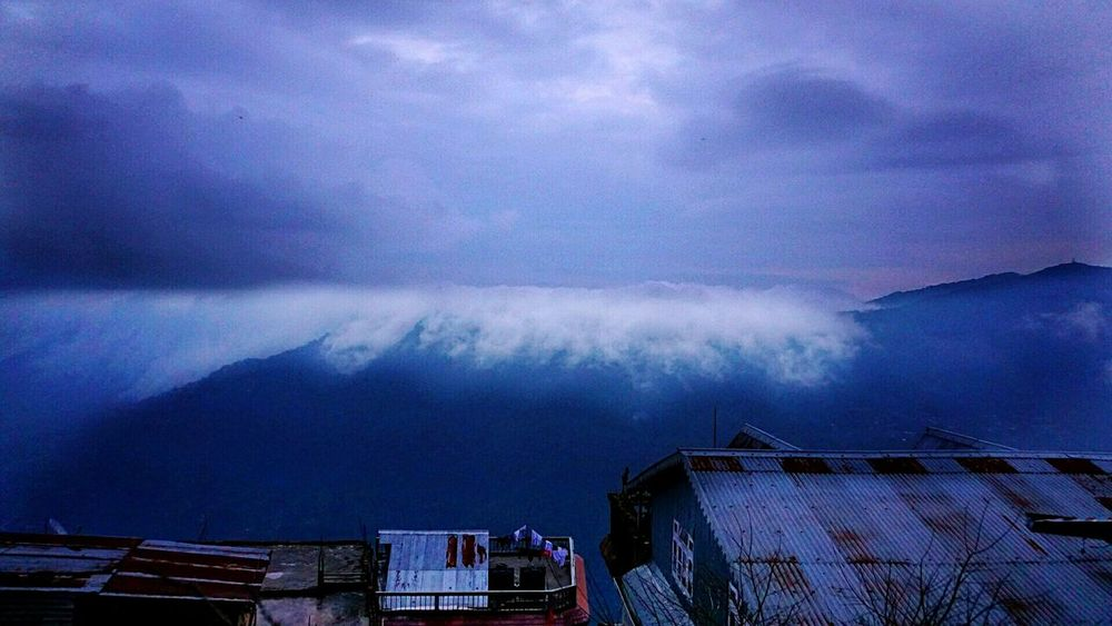 Mountain mist rolling in from Nepal Blue Wave Blue Mountains Bird's Eye View