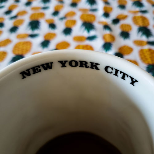 coffee in the city Mug Ricardobarbosa NY Newyork EUA USA Trip Pineapple #table Colors CFPRS #stuff #café Travel New York New York City PhonePhotography Nova York Renew White Background Text Close-up Latte
