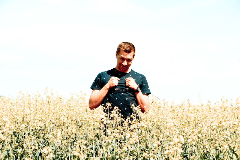 RapeFlowers Rapeseed Field Beauty In Nature Casual Clothing Day Field Front View Growth Land Leisure Activity Lifestyles Men Nature Oilseed Rape One Person Outdoors Plant Rapeseed Rapeseed Blossom Real People Sky Three Quarter Length Togetherness Young Adult Young Men