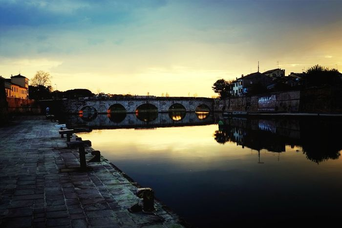 Sunset City Reflctions Tiberius Bridge Rimini