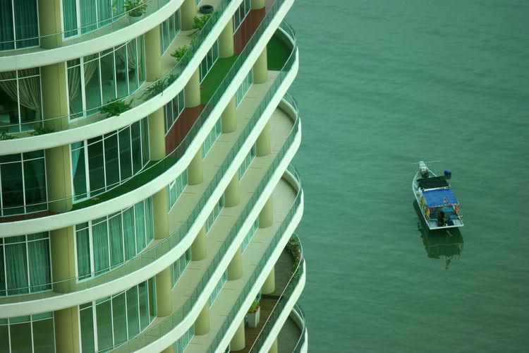 High angle view of ship moored on sea