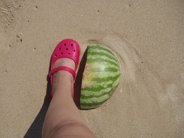 Beach Shore Crocs Leg Nature Outdoors Personal Perspective Sand Watermelon