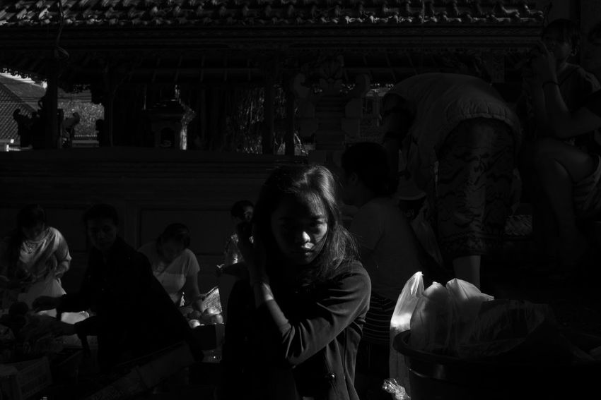 ubud is a mood Asian  Bali Cinematic Copy Space INDONESIA Portrait Of A Woman Street Portrait Black And White Busy Strangers Chasing Harsh Light Darkness And Light Day Fashion Model Large Group Of People Lifestyles Light And Shadow Monochrome Moody Portrait People Real People Street Photography