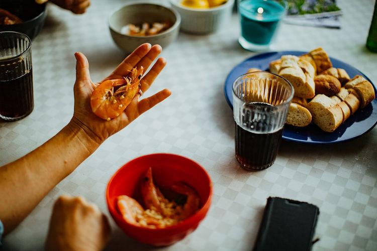 High angle view of shrimp on a hand