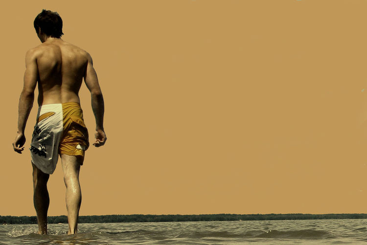 Rear View Of Shirtless Man Wading In Sea Against Clear Sky