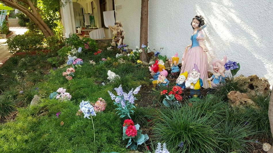 Hello World Good Morning Beautiful Day Snowwhite and the seven Dwarfs Garden