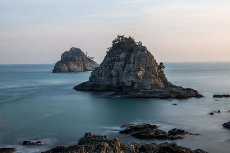 Sky Water Sea Rock Beauty In Nature Scenics - Nature Solid Rock - Object Tranquility Tranquil Scene Rock Formation Horizon Over Water Horizon Land Nature No People Idyllic Beach Non-urban Scene Stack Rock Outdoors Eroded