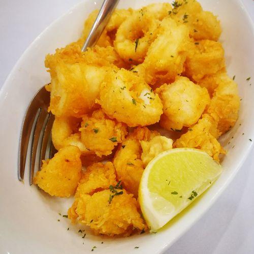 Fride Calamari Squid Calamari Squid Food Plate Close-up Food And Drink Served Fork Lemon Comfort Food