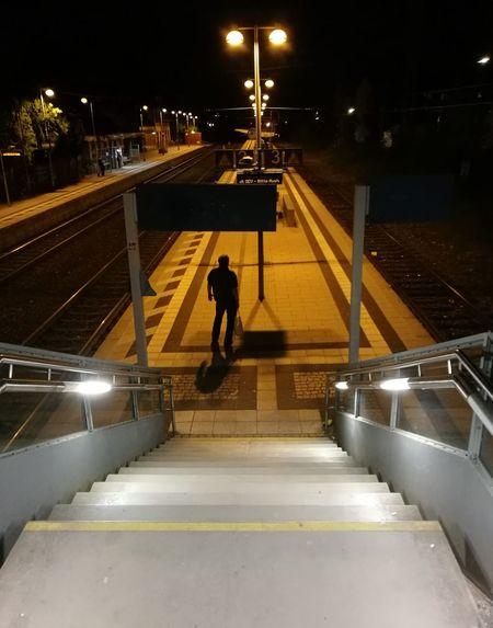 Railing Steps And Staircases Illuminated Outdoors Verspätet Schienenersatzverkehr Alone In The Dark The Secret Spaces EyeEmNewHere The Street Photographer - 2017 EyeEm Awards