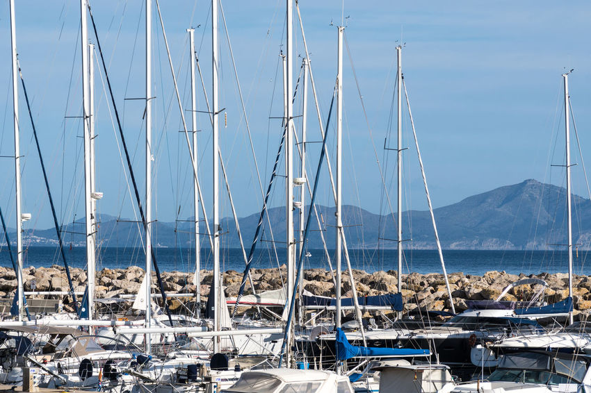 Colònia De Sant Pere Harbor Harbour Mountain Nautical Vessel Pole Pylon Sailboat Sailing Sailing Ship Water Waterfront