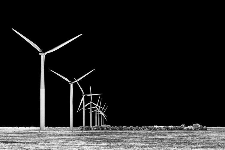 Turbine Alternative Energy Wind Turbine Wind Power Power Supply Black And White Negative Effect