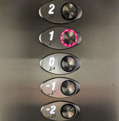 Elevator buttons Close-up Elevator Gray Gray Background Indoors  No People Number Order Technology