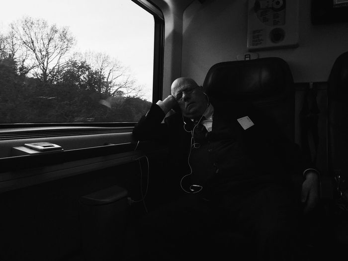 Candid Black And White Blackandwhite Sleeping IPhoneography Mobilephotography Train The Traveler - 2018 EyeEm Awards The Art Of Street Photography