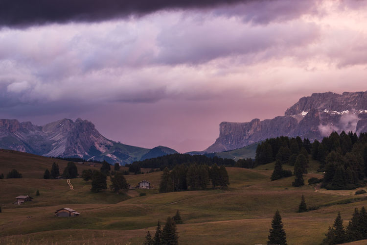 Meadow in the mountains with trees and cabins against dark cloudy sky during sunset