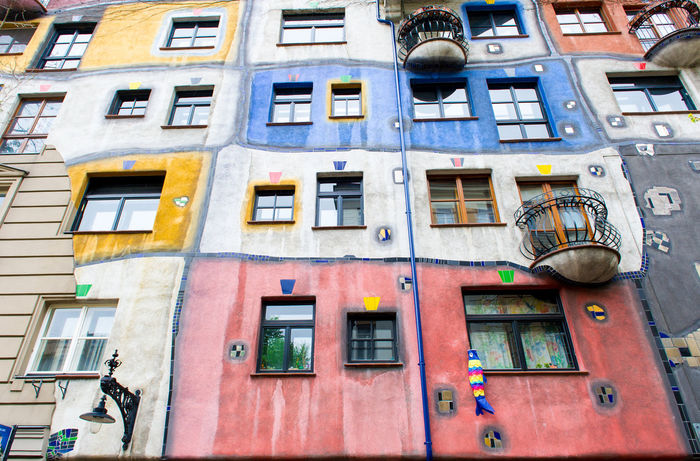 Exterior of The Hundertwasser House, is one of Austria's architectural highlights. Vienna city. Austria Architectural Feature Architecture Art Austria Building Exterior Colorful Day Europe Facade Building Famous Place House Hundertwasser Hundertwasser House Hundertwasser-Haus Landmark Multi Colored Nobody Outdoors Residential Building Tourist Attraction  Travel Destinations Unusual Urban Vienna Windows