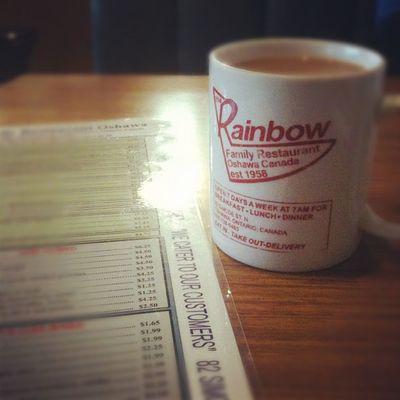 Sleep in… breakfast out… work late. Oshawa Breakfast Rainbowrestaurant 3GS iphoneonly badass