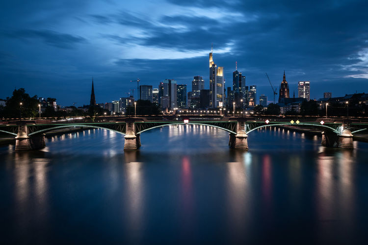 Frankfurt Am Main Germany Deutschland Architecture Urban Design Modern Abstract City Cityscape Skyscraper Reflection Cloud - Sky Bridge - Man Made Structure Bridge Built Structure Sky Water Waterfront River Skyline Building Exterior Building Office Building Exterior Tall - High No People Arch Bridge Dusk