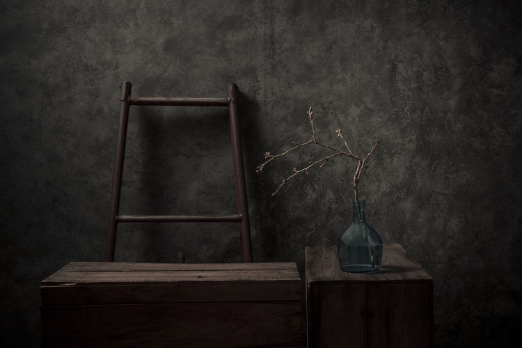Architecture Nature Old Still Life Container Furniture Table Ladder Sakura Dark Antique Cherry Tree Indoors  First Eyeem Photo Absence No People Studio Shot Built Structure Wall - Building Feature Wood - Material Indoors