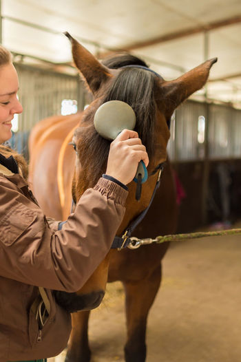 Woman Cleaning Horses At Stable