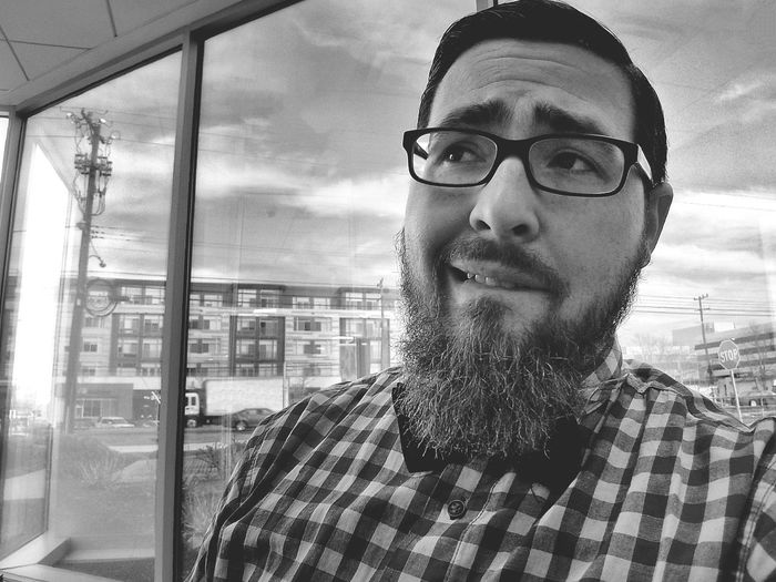 Thinking Beard Glasses Biting Lips Nervous View Work Office Bowtie Checked Pattern One Man Only Headshot Cloud - Sky Sky Men Close-up