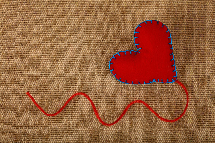 High Angle View Of Heart Shape On Burlap
