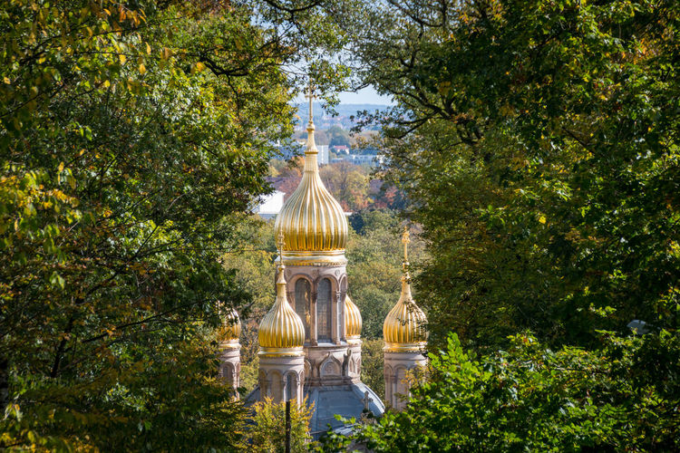The golden domes of the russian orthodox church of st. elizabeth in the german city of wiesbaden