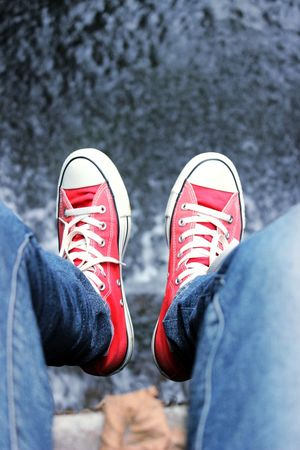 Bokeh Lifestyles Adventure Picture Love Converse Travel Beauty Happiness Nice Sneakers Low Section Standing Men Human Leg Red Canvas Shoe Shoe Fashion Jeans Personal Perspective Human Foot Feet Footwear