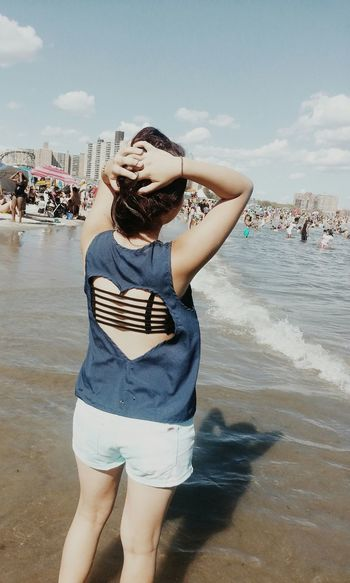Beach Carefree Casual Clothing Coney Island Connected With Nature Enjoyment Leisure Activity New York Person Standing Water Waves Weekend Activities Women