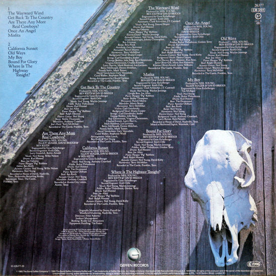 Neil Young: Old Ways, 1985., LP back side 1985., Artist ArtWork Back Side Charts Close-up Culture Design Gramophone Record History LP Music Musician Neil Young Old Ways Performer  Rock Singer