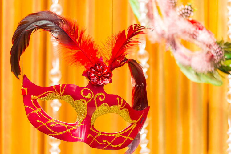 Close-up of mask for sale in market