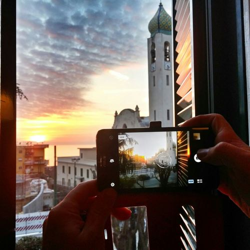 That moment Taking Photos Sunset Sunset And Clouds  Cloudscape Sea And Sky Napoli Torredelgreco Southitaly Sud South Holidays Weekend Window View Church Smartphonephotography Smartphone Campania Italy Naples Italia Beautiful Sunset Showcase: FebruaryFinestra Traveller Urban