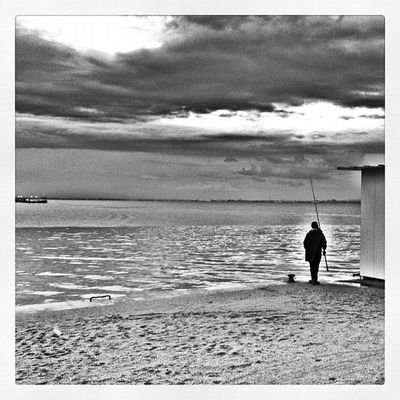 fisherman Fisherman Bw Lisbon Portugal