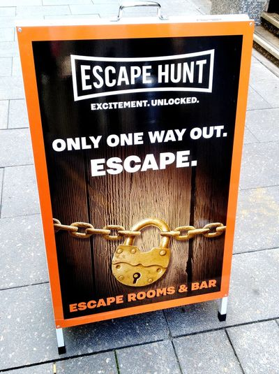 The Ultimate Live Escape Game Escape One Way Out Only One Way Out Only One Way Out! Only One Way Out, Escape Come In, We Dare You We Dare You Street Photography Check This Out No People! No People Adelaide Streetphotography Padlock SIGN. EscapeHuntGame Escape Hunt EscapeHunt™ Escape Hunt Game Escapehunt Communication Text Western Script Close-up Information Signboard Board Information Sign Sign