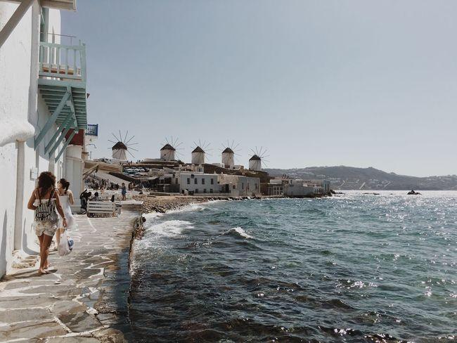 Mykonos Mykonostown Windmills Water Sea Tourism Holidays