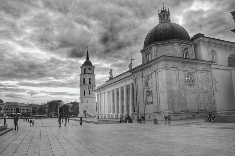 Cityscapes Streetphotography Black & White Black And White Collection  Lithuania Eye4photography  Cathedral Historical Sky And Clouds Architecture