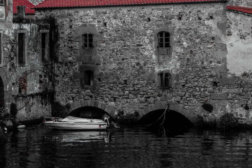 Arch Architecture Black And White Blackandwhite Boat Building At Waterside Building Exterior Built Structure Day Nature Nautical Vessel No People One Color One Color Remains Outdoors Red Roof Small Boat Transportation Water Waterfront