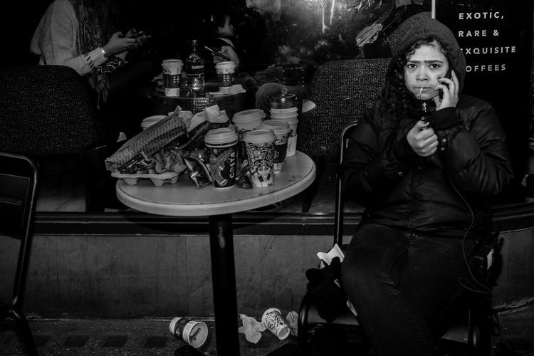 Modern kids Maxgor Rawstreets Regentstreet Olympus Pen-f 35mm City Urban Streetphotography Blackandwhite Black And White Blackandwhite Photography Monochrome Monochrome Photography Candid Candid Photography Street Life Street Style Smoking Rubbish Coffee Shop Food And Drink People
