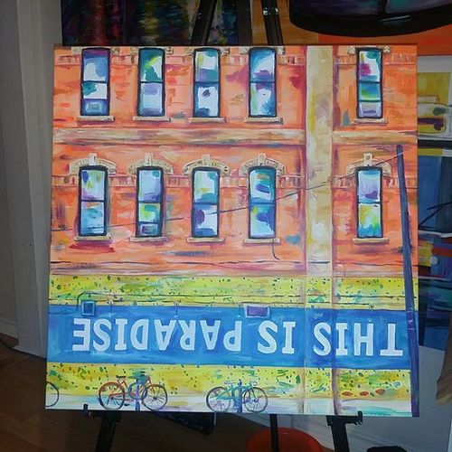 Few more touches on this piece Thisisparadise . 24x24 acrylic on stretched canvas. CaseyONeill Toronto Workinprogress